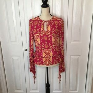 Boho Pink Top Georgette Tory Burch New size 8